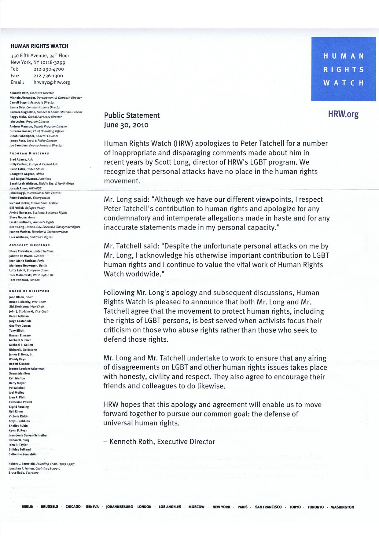 Human Rights Watch apology letter