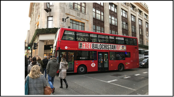 Phase 3 of #FreeBalochistan campaign: London bus adverts